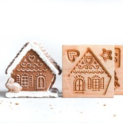 画像1: Gingerbread House/ジンジャーハウス<2枚組> *wood gingerbread cookie mold